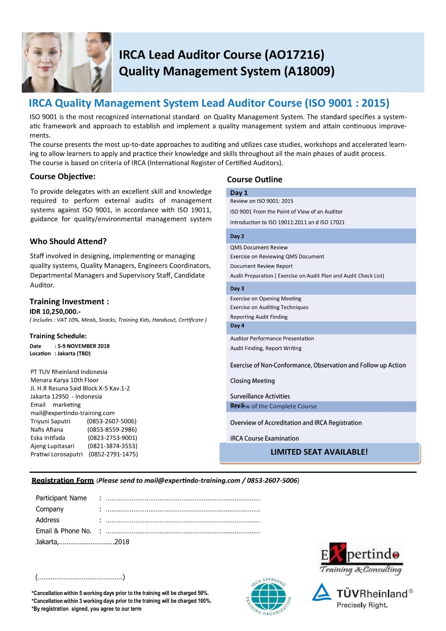 IRCA Lead Auditor Course (AO17216) Quality Management System (A18009